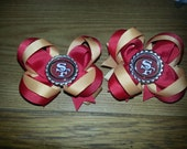 Custom NFL Inspired Mini Stacked Hair Bows Attached to a Partially Lined Alligator Clip
