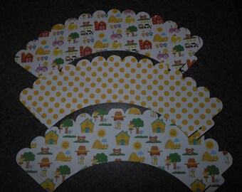 Farm Cupcake Wrappers  Set of 48 Tractor  FREE SHIPING
