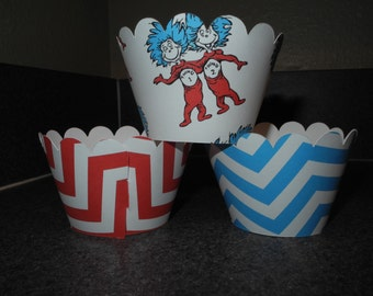 Thing 1 Dr. Seuss Cupcake Wrappers  Set of 12 Thing 2 Chevron