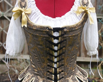 Marie Antoinette 18th Century Stays Corset Gold and Black Brocade Custom Period Historical Underpinning for Reenactment LARP