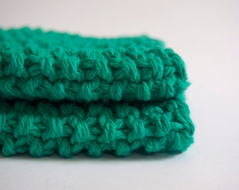 hand knit cotton washcloth in minty emerald sea green