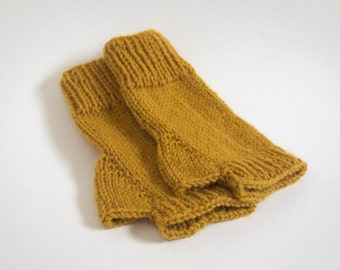 custom knit fingerless mittens-- the condyle wristwarmers in mustard yellow
