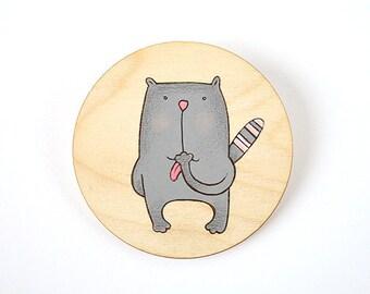 """Gray funny cat 4"""" Animal art  Cat illustration Cat art Gray nursery decor Children illustration Small baby art"""