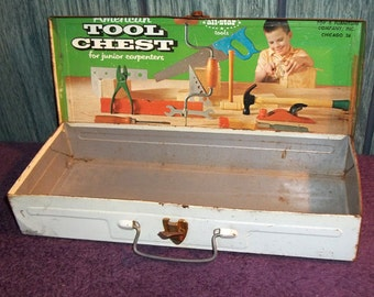 Vintage American Tool Chest Junior Carpenter Metal Box, American Toy & Furniture Co. Green Box