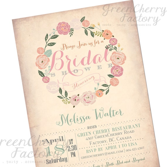 Bridal Shower Invitation - Vintage Peach Background - Wreath Spring Summer Floral Mint Coral Pink Flower - Printable Invitation - No.170