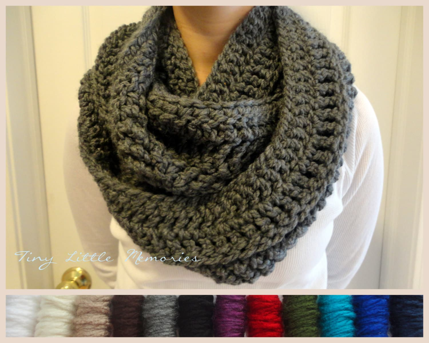 Crochet Infinity Scarf : Charcoal Gray Infinity Scarf Crocheted by TinyLittleMemories