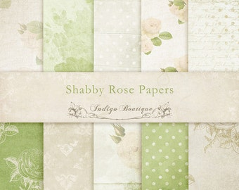 Shabby Rose Digital Papers - for Photographers, Scrapbooking and Card Making - ID064, INSTANT DOWNLOAD