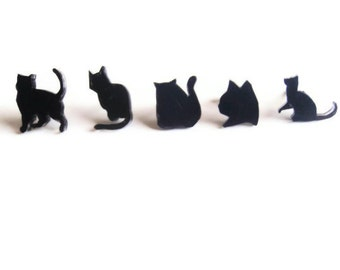 Cat Earrings SET - All five Pairs - Black Cat Studs