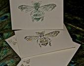2 Queen Bee hand-stamped Vintage note cards and coordinating envelopes . Cranes watermark#savethepollinators