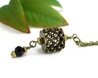 Victorian Filigre Necklace, Ornate Drum Black Swarvoski Crystal Gothic Industrial Hobo Bohemian Grunge Pendant Vintage Retro Style Jewelry