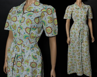 Vintage 1940s Dressing Gown Lounging Robe Pinup Designer Burlesque Marilyn Monroe Paisley Brocade