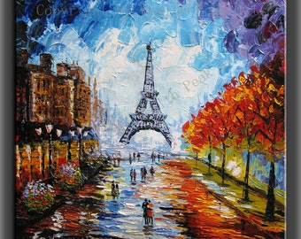 original painting,modern canvas painting ,handmade,framed,ready to hang,  impasto palette knife painting Paris Eiffel Tower