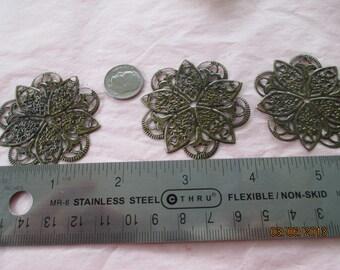 4 Stargazer Filigrees for Jewelry Making,  Metal,  Listing 14168