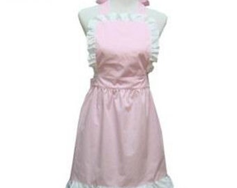 Beautiful Handmade full apron dress  for kitchen cooking round  Accessories pink