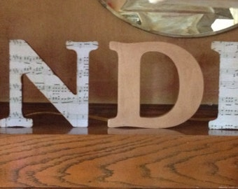 Popular items for painted wood letter on etsy for Standing wood letters to paint