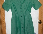 GIRL SCOUTS Vintage 100% Cotton Official Uniform DRESS Short-Sleeved with Pockets