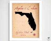 Wedding Location & State / Country Map Print / Anniversary, Parents Engagement Art Present / Bridal Shower Gift / 8x10 Florida