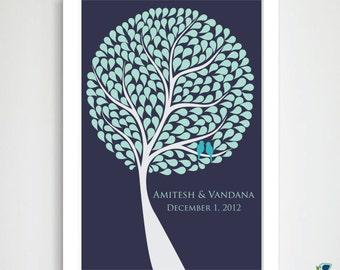 225 Leaves - Custom Wedding Tree Guest Book Alternative / Personalized Enchanted Wedding Signature Tree Print / Bridal Shower Gift  24x36