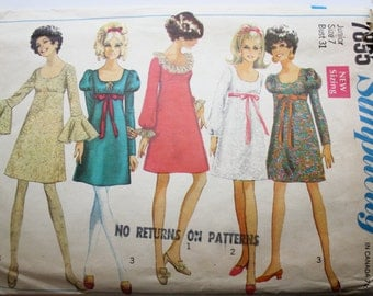Babydoll Dress Pattern- Vintage 1960s Babydoll Mini Dress Sewing Pattern Size 7 Bust 31 Simplicity 7895