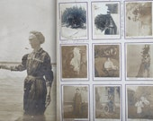 Victorian photo scrapbook on repurposed printer boards. 9 leaves, 77 photos. Bicycles, school, beach, ships. Antique ephemera.