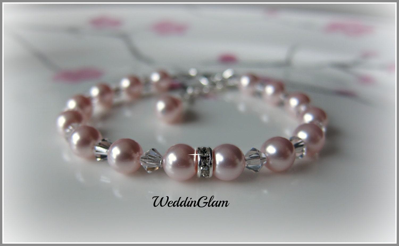 Flower Girl Bracelet Swarovski Child Pink Pearl By Weddinglam