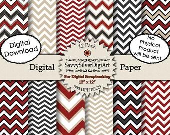 Digital Chevron Paper - Red Charcoal Gray Black Khaki Tan White Zig Zag, Instant Download, Scrapbook Paper, Background Paper