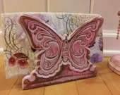 Hand Painted UpCycled Vintage Carved Wood Pink Butterfly Napkin Holder, Primitive Distressed Shabby Chic Cottage Gypsy, Boho