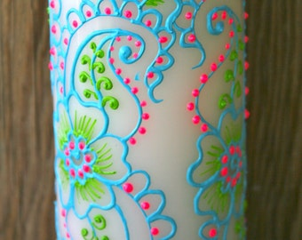 Hand Painted Candle, Turquoise, Lime Green and Bright Pink, Great for Indian Weddings