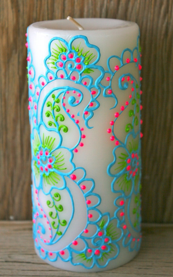 Hand Painted Candle Turquoise Lime Green And Bright Pink