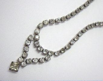 Vintage GARNE White Rhinestone Bridal Wedding Drop Bib Necklace