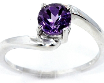 1 Carat Alexandrite Round Ring .925 Sterling Silver Rhodium Finish White Gold Quality