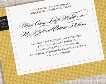 Wedding Invitations with a Linen Texture (Sample Set)