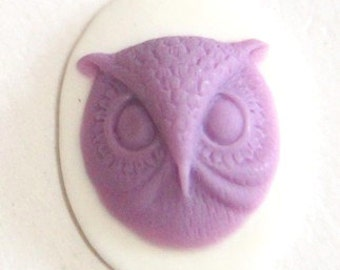 6 pcs of resin owl cameo-18x25mm-rc0172-3-purple on white
