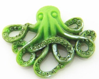 6 pcs of resin Octopus cabochon 20x25mm-RC0104-HAND painted pearilzed -green