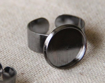 12 pcs of brass ring base with 14mm cameo setting-M4018-gun metal