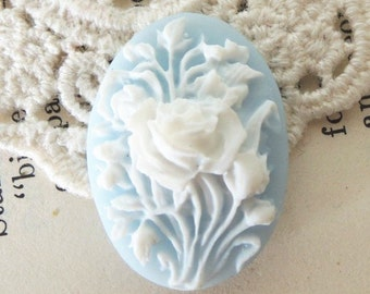 12 pcs of resin flower cameo 18x25mm-RC0403-white on light blue
