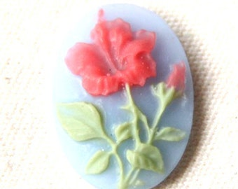 12 pcs of resin flower cameo -13x18mm RC0249