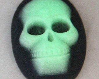 6 pcs of resin skull cameo-18X25mm -RC0168-glow in the dark