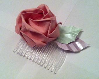 Origami Fabric Pink Rose Haircomb