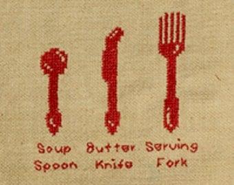 Silverware Cross Stitch Pattern PDF: In the Kitchen