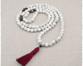 Howlite Mala Beads - Gemstone Meditation Necklace - 108 Mala Prayer Beads - Calming & Tranquility - Patience - Item # 969