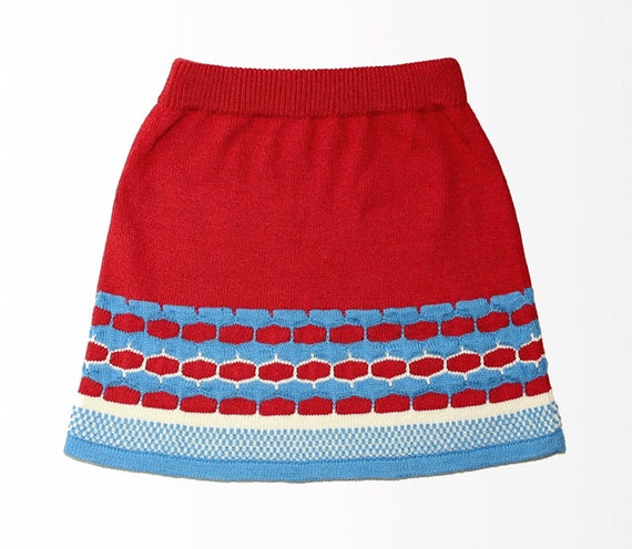 Knitted red & blue cotton mohair short A-line skirt // Hand machine knit // For her