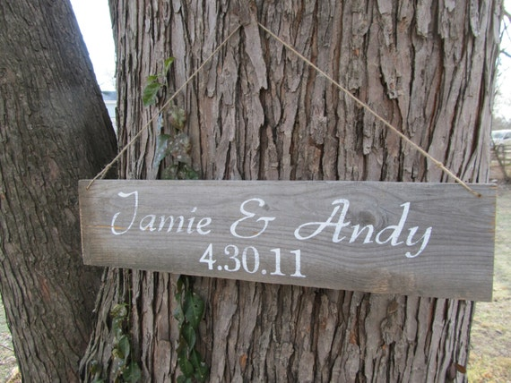 Bride & Groom Names And Wedding Date Rustic Wedding Sign
