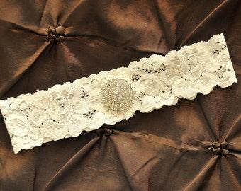 Ivory Wedding Garter, Ivory Bridal Garter - Ivory Lace Garter, Toss Garter, Crystal Embellishment, Crystal Rhinestone on Ivory Lace