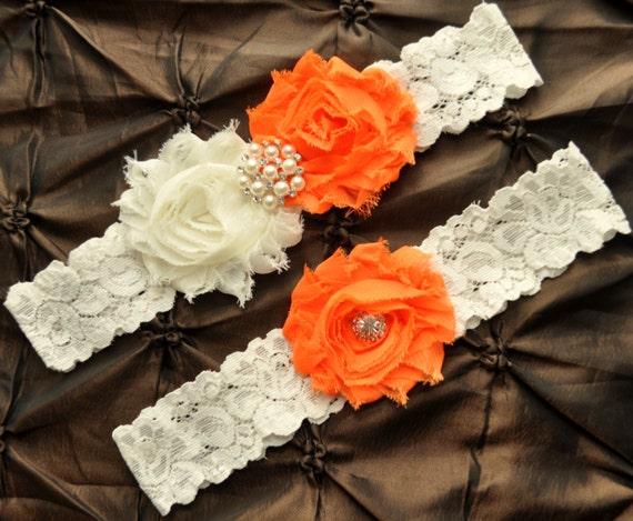 Orange Wedding Garter Set