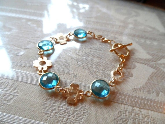 RESERVED FOR ALTA - Sky Blue Topaz Gemstone Bracelet Bezeled with Gold Vermeil & Gold Vermeil Clover Links