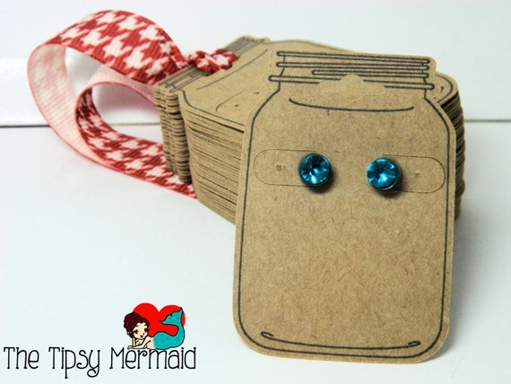 Cute Tags: 64x Cute Mason Jar Shaped Earring Tags By TheTipsyMermaid