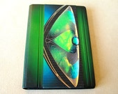 Journal Diary Green Leather A5 Blank Book with Cloth Inset