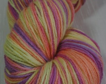 Hand Painted Yarn in Shades of Orange, White, Yellow, Green, Pink, Purple, Violet 393 yrds, Knitting Supplies, Crochet Supplies