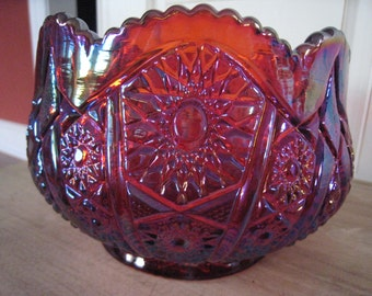 Indiana Carnival Red Iridescent Glass Bowl